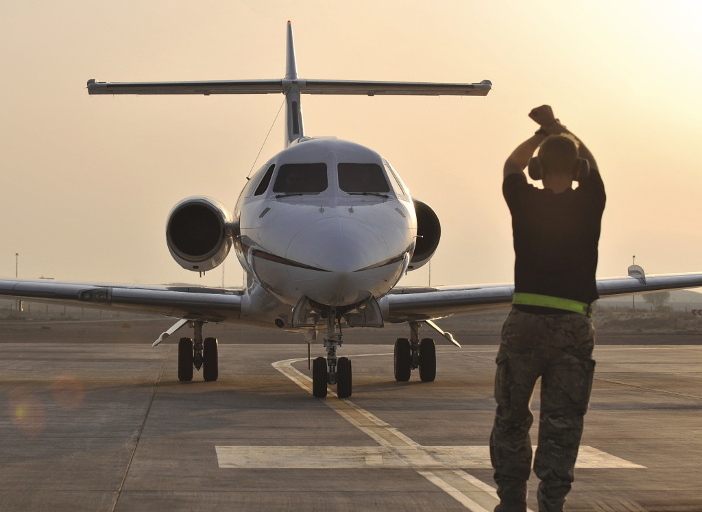 Marshalling a Royal Air Force BAe 125 Aircraft in the Middle East