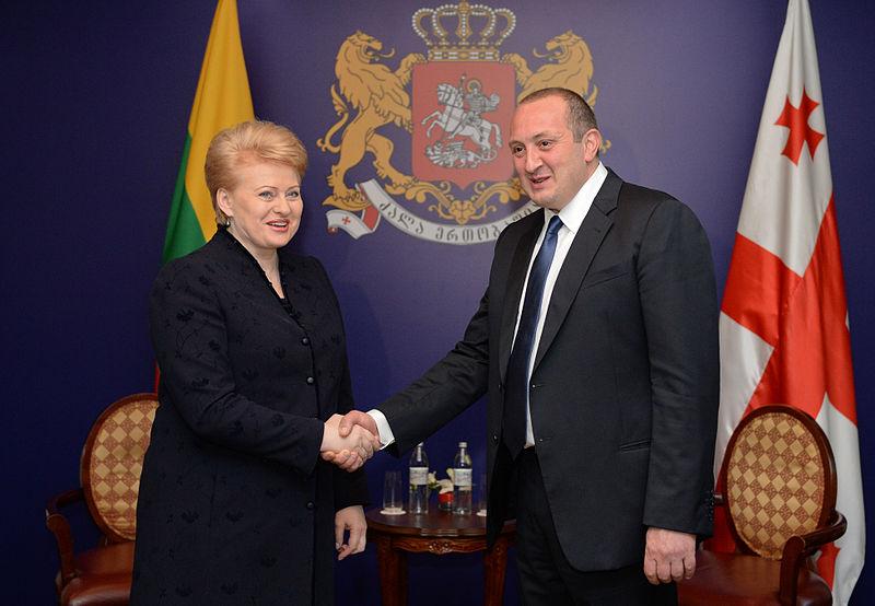 President Giorgi Margvelashvili of Georgia meets his Lithuanian counterpart Dalia Grybauskaitė in November 2013.