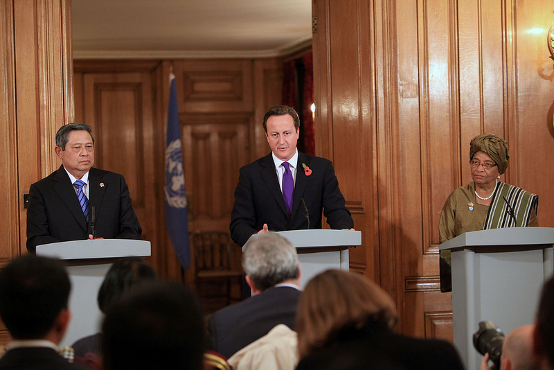 Indonesian President Yudhoyono, British Prime Minister David Cameron and Liberian President Johnson Sirleaf at the opening of the High Level Panel on the Post 2015 Development Agenda. Source: Foreign & Commonwealth Office/Patrick Tsui