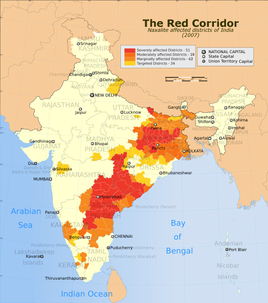 "Map of India's infamous ""Red Corridor"" of Naxalite activities; Photo Credit: WikiMedia Commons"