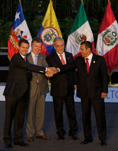 The presidents of Mexico, Colombia, Chile and Peru at a Pacific Alliance Summit in Santiago de Chile. Courtesy of PresidenciaMX 2012-2018, via Wikimedia Commons
