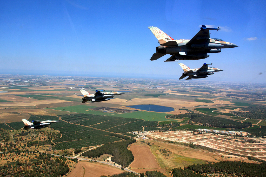 IAF Sufa Fighters fly in formation over Israel. Photo Source Israel Defense Forces via Flickr Creative Commons.