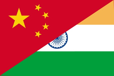 Image: Indian and Chinese flags merged. Image source: Simeon Scott via Wikimedia Commons