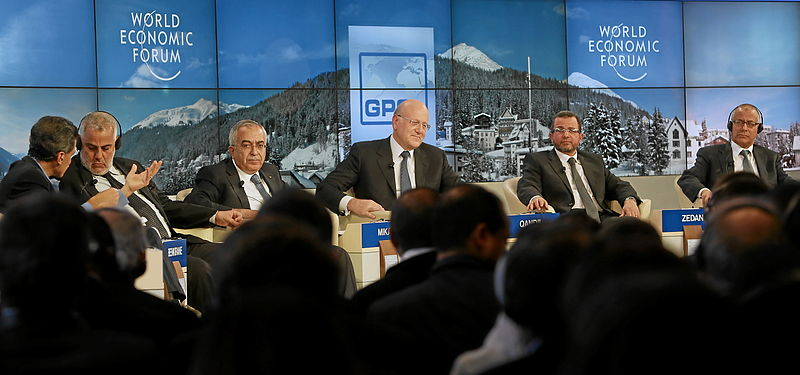 Najib Mikati (center) 'Transformations in the Arab World' at the Annual Meeting 2013 of the World Economic Forum in Davos, Switzerland, January 25, 2013