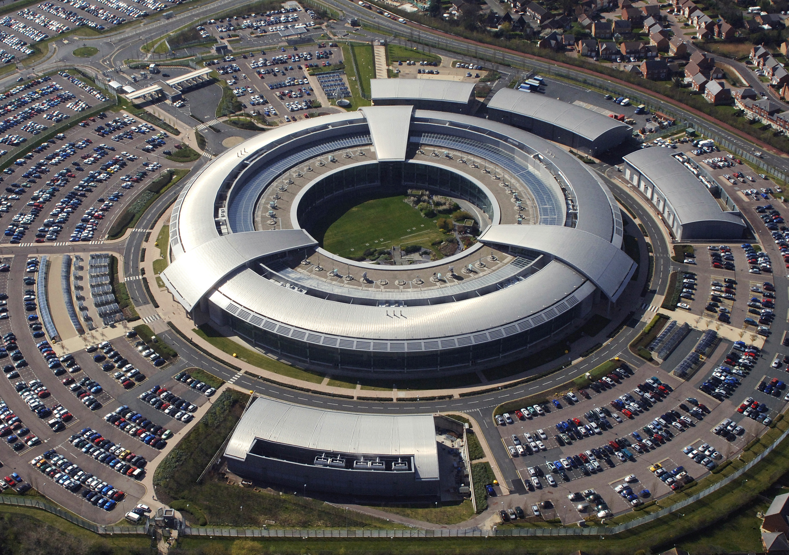 An aerial image of the Government Communications Headquarters (GCHQ) in Cheltenham, Gloucestershire - MOD via Wikimedia