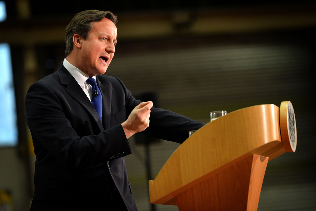 Prime Minister David Cameron delivers a speech on immigration at the JCB Headquarters in Rocester, Staffordshire on 28 November 2014 - Arron Hoare - Flickr Creative Commons
