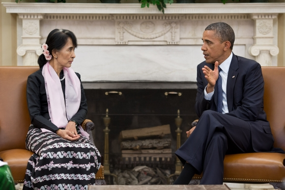 Barack Obama meets with Aung San Suu Kyi.  Official White House Photo by Pete Souza, via Wikimedia Commons
