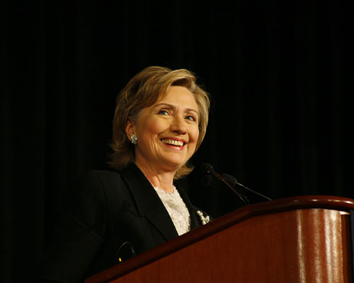 Hillary Clinton speaking in Chicago, IL in 2006 - via WikiCommons