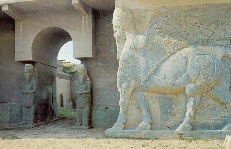 Assyrian Monuments in Nimrud.  via Wikimedia Commons.