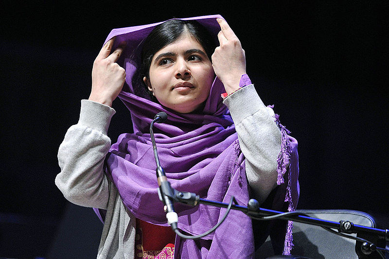 Malala Yousafzai at the WOW 2014 festival in London; photo through Wiki Commons: https://commons.wikimedia.org/wiki/File:Malala_Yousafzai_-_13008190293.jpg