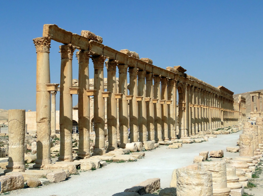 Decumanus Maximus Palmyra - By Bernard Gagnon. via Wikimedia Commons.