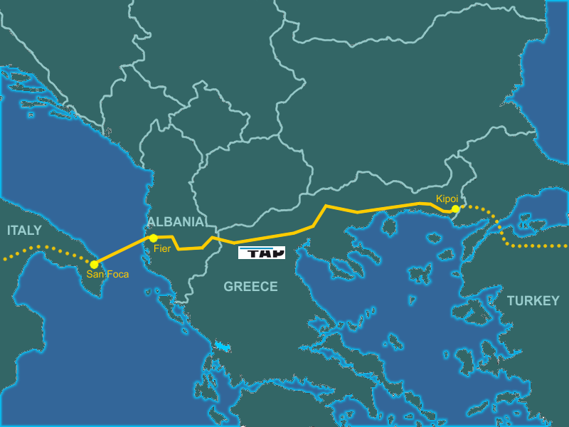 Trans Adriatic Gas  Pipeline  Map, Genti77 via        Wikicommons