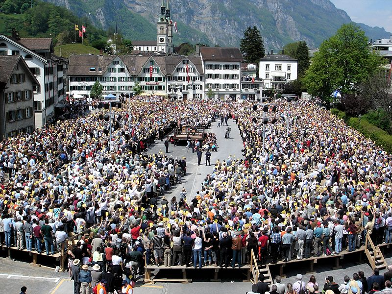 A Landsgemeinde, or assembly, of the Canton of Glarus, on 7 May 2006, Switzerland by Adrian Sulc viaWikimedia Commons