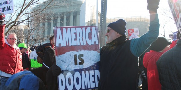 Protestors outside the  Supreme Court of the United States invoke the rhetoric of an existential threat posed to the United States (Courtesy of Elvert Barnes under Creative Commons Licence)