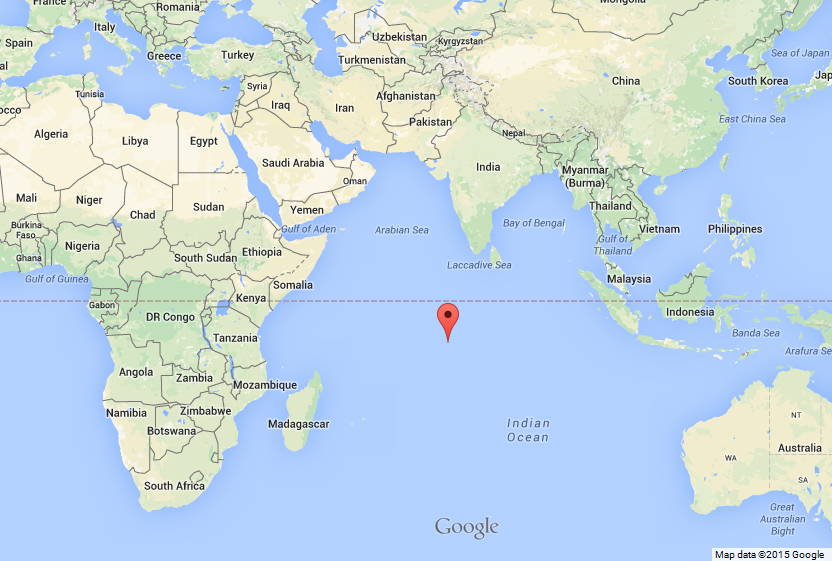 Strategic Location of Diego Garcia in Indian Ocean via Google Maps