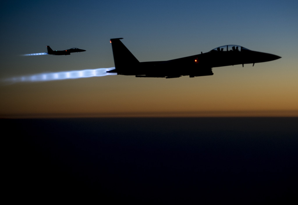 U.S. Air Force F-15E Strike Eagle aircraft fly over northern Iraq Sept. 23, 2014- US Department of Defence via Wikimedia Commons