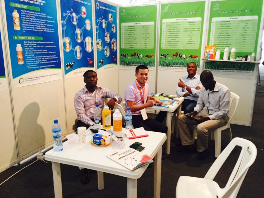 First from the left; Funtuna Farm Commercial Operations Manager Ope Agbato at the trade-fair in Lagos
