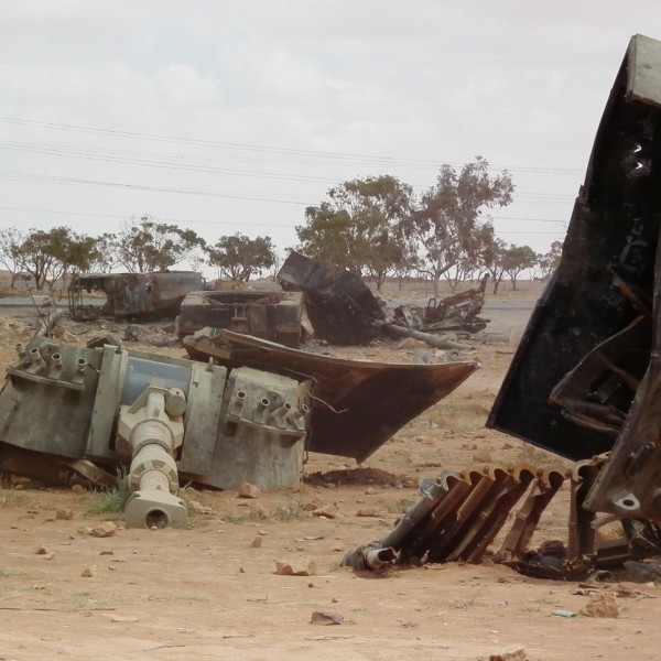 Palmarias of the Libyan Army destroyed by French air force near Benghazi, 19 March 2011. Photo: Bernd Brincken