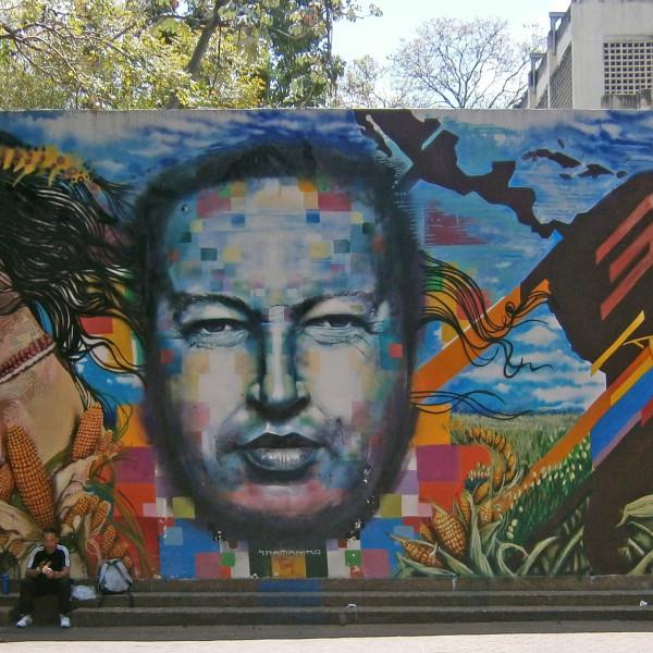 Hugo Chavez mural in Caracas.